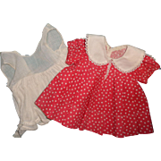 """Ideal Shirley Temple TAGGED Loop Dress w/ Matching Factory Slip for 18"""" Composition Doll"""