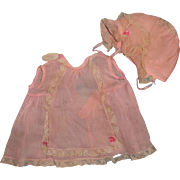 American Character PETITE TAGGED Organza Dress & Bonnet Set for Larger Composition Doll