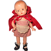 RARE Effanbee Little Red Riding Hood Patsyette Composition Doll ~ Gift Giving Condition