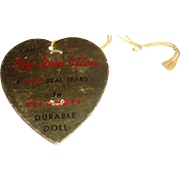 Authentic Effanbee Dy-Dee-Ellen Gold Heart Paper Hang Tag