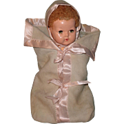 "Authentic Effanbee Dy-Dee Bunting w/ Hood 2 pc set for 15"" Baby Doll"