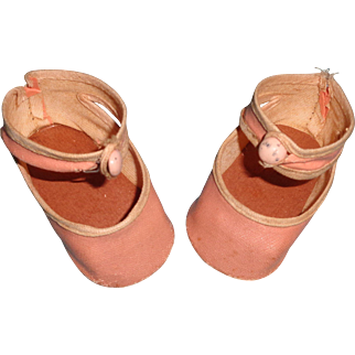 Nice  Soft Pink Oil Cloth Shoes and Socks for Larger Composition or Bisque Doll
