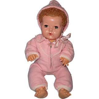 "Authentic Effanbee Dy-Dee Pink 2pc Eiderdown Snow Suit for 15"" Doll"