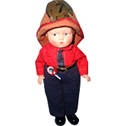 RARE Effanbee  Baby Grumpy Tagged FIREMAN Composition Doll - Red Tag Sale Item