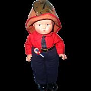 RARE Effanbee  Baby Grumpy Tagged FIREMAN Composition Doll