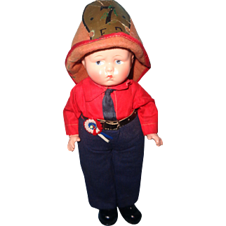 RARE Effanbee  Baby Grumpy Tagged FIREMAN Composition Doll