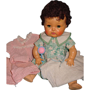 Tiny Tears Brunette Doll w/ Rubber body and Extra Clothing/Accessories