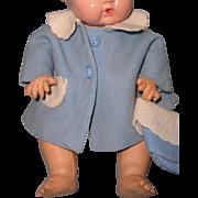 "Authentic Tiny Tears Blue Felt Driving Coat & Bonnet for 11"" Doll"