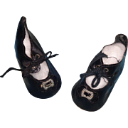 Black Oil Cloth German Buckle Design Shoes for Composition or Bisque Doll