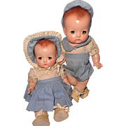 """Effanbee Factory Original 9"""" Patsy Babyette Twins Composition Doll Set"""