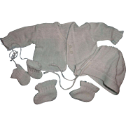 "Cute White Complete Sweater Set for 15"" Dy-Dee Baby or Tiny Tears Doll and Friends"