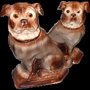"""Large Early  12"""" Staffordshire Pug Dog Set"""