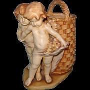 Beautiful 19th Century Amphora Hand Painted Cherub w/ Basket ~ stunning