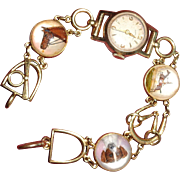 Essex Crystal and 14K Bracelet Watch Horse & Dog
