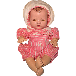 """Authentic Effanbee TAGGED Dy-Dee Baby Romper and Hat for15"""" Baby Doll"""