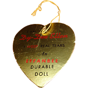 Authentic Dy-Dee Ellen Doll Gold Heart Paper Tag ~ Effanbee