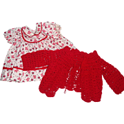 """Sweet Red Heart Dress w/ Sweater for 14-15"""" Baby Doll"""
