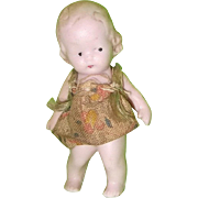 """Tiny Hertwig Bisque Little Girl Doll ~ 2 1/4"""" tall ~Factory Original"""