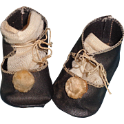 Cute German Black Oil Cloth & Pom Pom Shoes for Composition or Bisque Doll