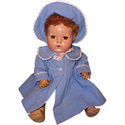 """Authentic Effanbee Dy-Dee Blue Twill Coat & Bonnet for 15"""" Baby Doll"""