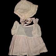 Rare Tiny Tears Swiss Dot Dimity Dress w/ Bonnet