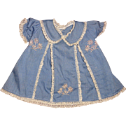 Pretty Chambray Dress for Composition or Bisque or hard Plastic Doll