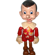 Rare HUGE Ideal Pinocchio Wood Segmented and Composition Doll~ Disney
