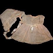 """Tiny Tears Authentic 15"""" Swiss Dot Dimity Dress w/ Bonnet"""