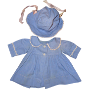 """Authentic Effanbee Dy-Dee Blue Twill Coat & Bonnet Set for 15"""" Baby Doll"""