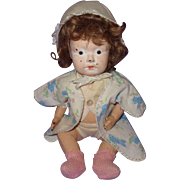 Rare Early All Metal Spring Jointed Baby Doll