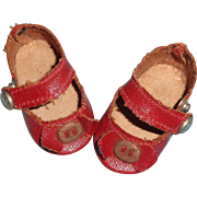 Authentic Effanbee Red Oil Cloth Side Snap Shoes for Small Composition or Bisque Doll