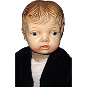 Early Straw Stuffed Composition Boy Doll ~ Adorable
