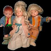 Wonderful 3 Doll Lot Effanbee Patsyette Composition Doll ~ Factory Original