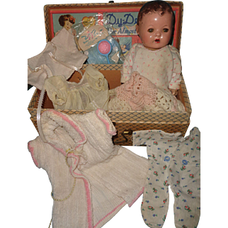 "RARE Effanbee  9"" Dy-Dee Wee  Baby with Box and Accessories"