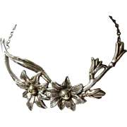 STERLING silver flower CHOKER NECKLACE Artisan handcrafted High End piece