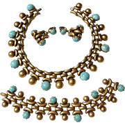 Rare Joseff of Hollywood necklace / CHOKER BRACELET & EARRING set with faux turquoise- Robins egg cabochons