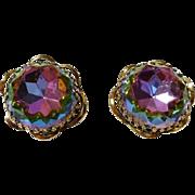 Schiaparelli HEADLIGHT large light WATERMELON rainbow TOURMALINE clip earrings