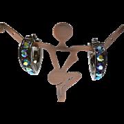 YSL Yves Saint Laurent METALLIC AB aurora borealis HOOP clip earrings gunmetal