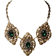 Joseff of Hollywood royal MEDALLION NECKLACE bib collar large emerald green rhinestones
