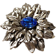 Joseff of Hollywood silver tone relief FLOWER BROOCH pin w/ BLUE CABOCHON