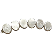 YSL Yves Saint Laurent LARGE silver tone faux Mother of Pearl MOP link BRACELET