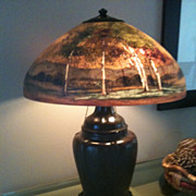 1- Handel Lamp. Reverse painted scenic lamp number 7118A