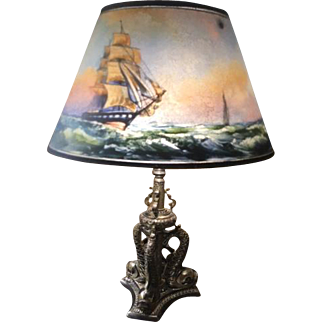 76- Pairpoint reverse painted clipper ship