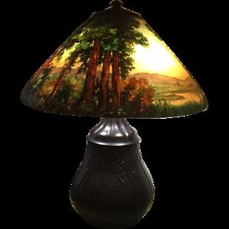 77- Handel reverse painted scenic lamp
