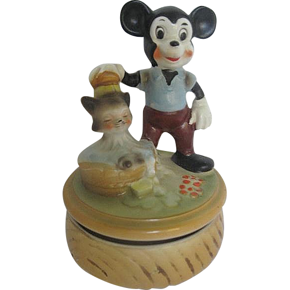 Rare Disney Vintage Mickey Mouse Figaro Cat Ceramic