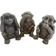 The Three Wise Monkeys - Hear No Evil, See No Evil, Speak No Evil - Pewter and Rhinestone trinket box figurines
