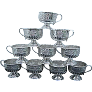 Ten Vintage Early 1900's Sheffield Cheltenham Ornate Silver-plate Pedestal Coffee/Tea Cups - 800 - Made in Sheffield England - Red Tag Sale Item