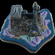 Paris Landmarks on Map of France Limoges Box - Retired