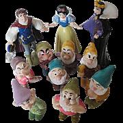 Disney Snow White & The Seven Dwarfs Figurine Set 10 pc. - signed