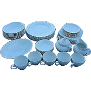 RARE Johnson Bros. Snowhite Swirl Platinum Silver Trim 46 pc. China Set - Made in England